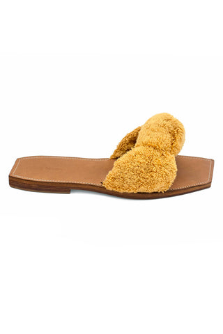 Parme Marin Spring 2018 Node Slide in Ochre. Knotted terry cloth slide with leather footbed. Square open toe slide sandal. Dust bag included. Color Yellow. Terry cloth upper. Lambskin footbed. Sizes 36 37 38 39 40.