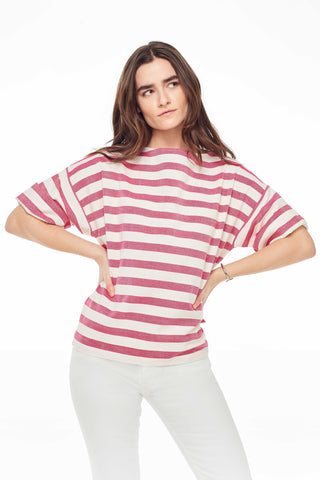 Accompany Exclusive Proud Mary Huipile Top in Pink Stripe. Lightweight loose fitting top. Boxy and loose. 3/4 length sleeves. Round crew neck. Measures 25 inches from shoulder to hem. Color pink and white stripe. 100% cotton. One size fits most.