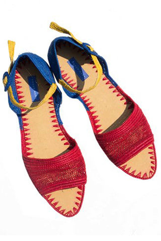 Primary Crocheted Raffia Strappy Sandal
