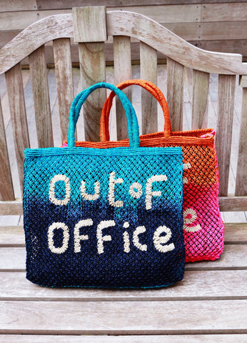 """Out of Office"" Indigo & Turquoise Tote"