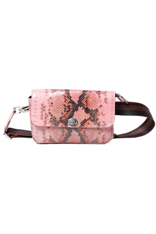 Rachel Comey Resort 2019 Daft Fanny Pack. Small leather fanny pack featuring painted pink snake motif. Adjustable and removable cotton webbing strap in black and brown. Silver metal fastenings and button closure. Color pink. 100% leather. 100% painted leather. One size.