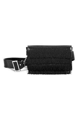 Rachel Comey Spring 2018 Ida Fringe Fanny Pack in Black. Hip bag in polished leather with fringe overlay. Flap closure with magnetic strap. Lined interior. Adjustable belt buckle strap. Measures 8 inches by 4 inches. Color Pink. Genuine Leather. One Size.