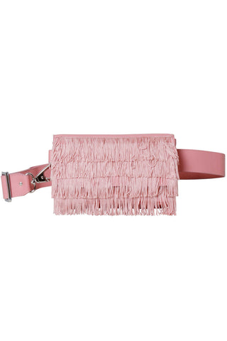 Rachel Comey Spring 2018 Ida Fringe Fanny Pack in Polished Blossom. Hip bag in polished leather with fringe overlay. Flap closure with magnetic strap. Lined interior. Adjustable belt buckle strap. Measures 8 inches by 4 inches. Color Pink. Genuine Leather. One Size.