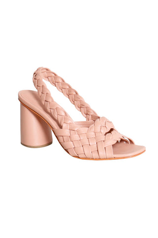 Rachel Comey Spring 2018 Zion Sandal in Clay. Braided slingback strap. Covered round heel with rubber cap. Leather sole. Color nude. Cowhide leather. Sizes 7 8 9.