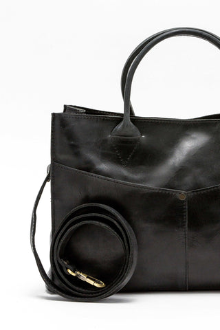 Kerem Black Convertible Leather Handbag