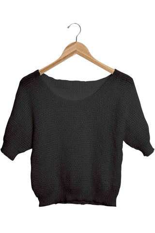 Okello Black Cropped Mohair Short Sleeve Sweater