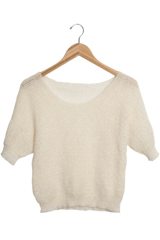 Okello Natural Cropped Mohair Short Sleeve Sweater