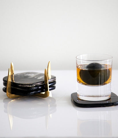 Hand-Forged Brass & Horn Coaster Set