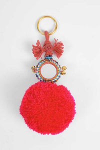 Red Pom Pom Mirror Keyring