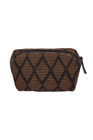 Alaya Toiletry Bag by Siblings Army. Handmade in Peru. Textile pochette, featuring zip closure. Printed cotton interior. Crafted in an artisan community. Color brown black. 100% mercerized cotton.