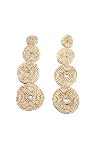 This statement making Circles Earrings by Shicato Spring 2018. These earrings are individually handcrafted in Ecuador from natural materials. Crafted from straw.  Measurements: Length: 4.5""