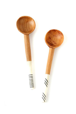 Wild Olive Wood & Etched Cow Bone Spoons