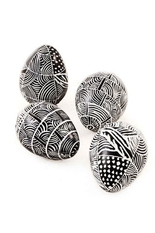 Miniature Black Etched Soapstone Eggs
