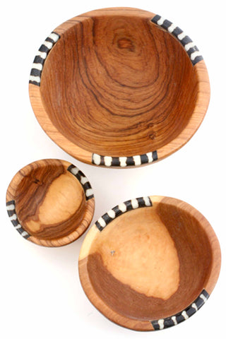 Small Wild Olive Wood & Bone Bowls (Set of 3)