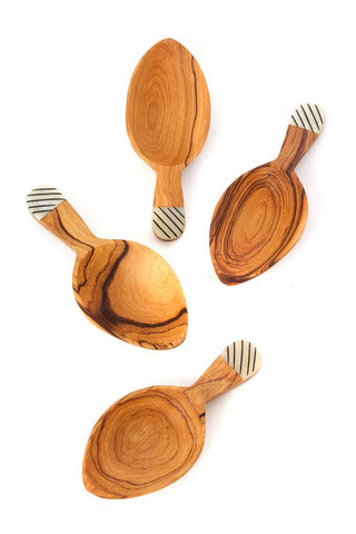 Wild Olive Wood Leaf Scoop Set