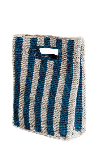 "Someware Provence Bag in Peacock Stripe. Top handle small tote bag. Easy to carry handle. Open top. Unlined. Handmade in Colombia. 13"" x 10"" x 3.5"". Color blue white. 100% fique. One size."