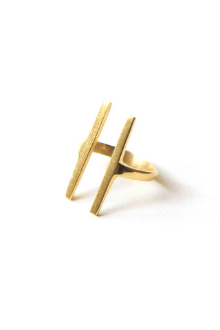 Soko Double Bar Ring. Hand cast parallel bar ring. Handcrafted in Kenya using traditional artisan techniques. Colors silver gold. 100% recycled brass, chrome plating. Sizes 6 7.