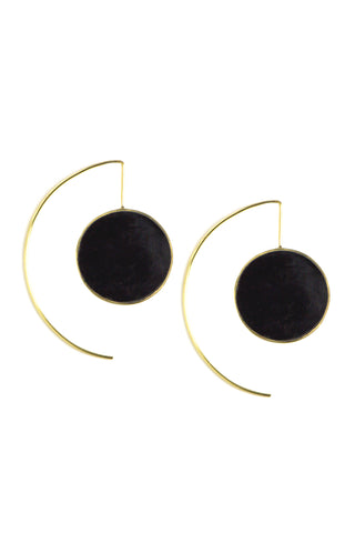 Accompany Exclusive Soko Encased Horn Threader Earring. Hand carved horn medallion wrapped in polished brass. Pull through threader for pierced ears. Handcrafted in Kenya using traditional artisan techniques. 2 inch drop. Color black gold. 100% recycled brass, hand carved horn. One size.