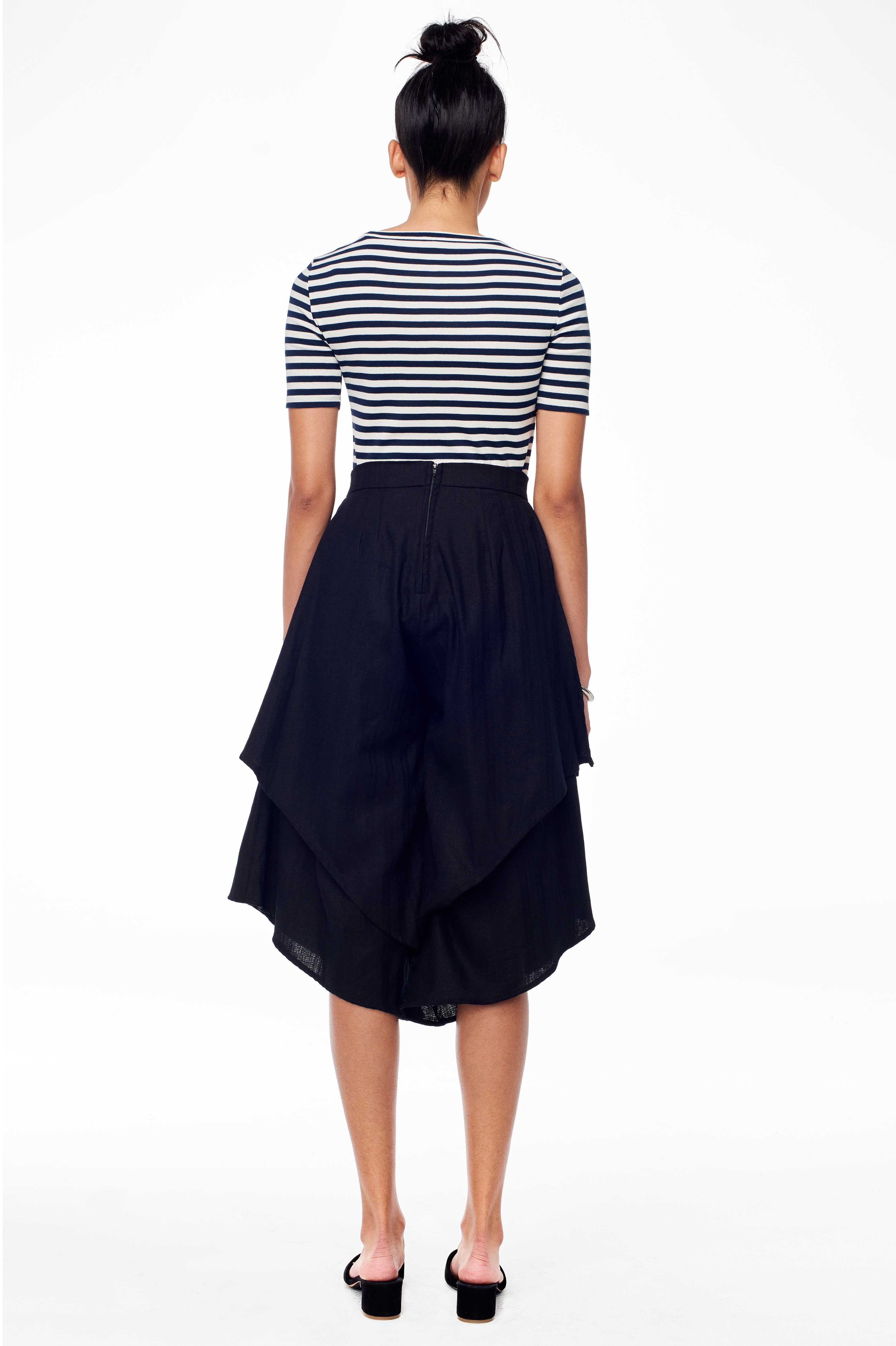 Emma Pant Accompany Hem Sitting Pretty Spring 2018 In Black Tiered Wide Leg With Hidden Side