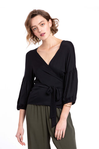 Ivy Black Wrap Blouse