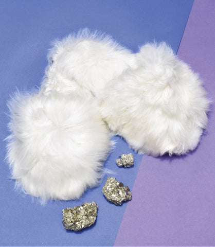Suri Baby Alpaca White Slipper