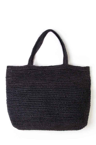 "Someware Riviera Tote in Black. Hand crocheted large handle over the shoulder tote featuring slouchy structure and open top. Unlined. Handmade in Colombia. 14"" x 20"" x 4"". 7.5"" strap drop. Color black. 100% fique. One size."