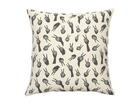 "Grey Woven Peace Hands Cushion from Safomasi. In chic grey and white, this floor cushion cover woven with Safomasi's Japanese inspired peace hands design will add an element of cosy texture and pattern your room. Double sided jacquard woven from 100% cotton  26"" x 26"" Features grey and white pattern."