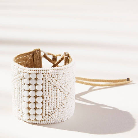 Lace Up Beaded Cuff