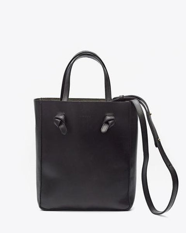 Simone Black Leather Cross Body Shopper