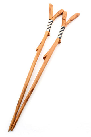 Wild Olive Wood & Bone Branch Chopsticks