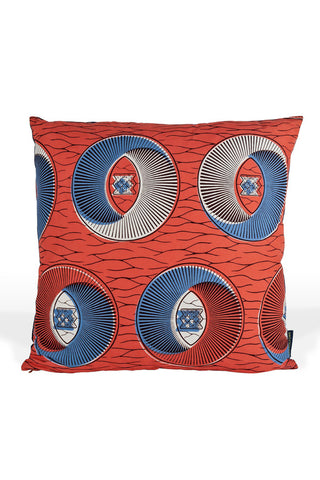 Betanti Cushion by 3rd Culture. Handcrafted in Turkey.  3rd Culture cushions are hand made in Istanbul using West and Central African fabrics and come with goose feather filling.  These fabrics, also known as 'Dutch Wax' are the result of a cross-cultural history involving Dutch merchants, Indonesian batik and West African visual culture. Color red. 100% Cotton.