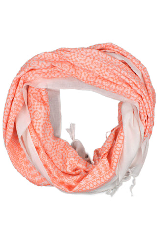 Oversized Coral Embroidered Scarf