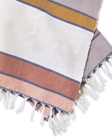 "The Sunrise Stripe Towels by Minna are a warm addition to any kitchen or bathroom. Woven by a man named Manuel in the village of Nahuala. Soft enough to function as hand towels, and durable enough to soak up spills around the kitchen. Finished with a rustic edge and fridge. 100% cotton. 20"" x 26"""