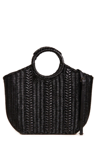 Ulla Johnson Spring 208 Amyris Mini Shoulder Bag. Handwoven wicker mini tote with adjustable leather shoulder strap. Cow leather trim. Fabric lining. Detachable adjustable shoulder strap. Top handles. Dust bag included. Color black. 100% wicker rattan. One size.