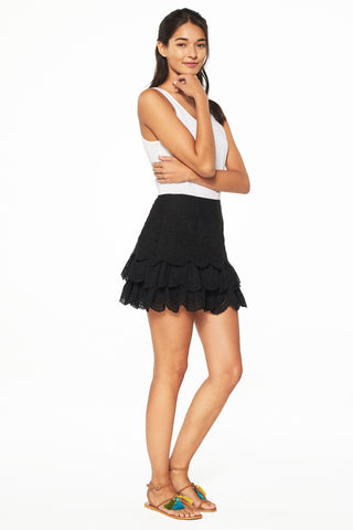 Daria Coal Embroidered Eyelet Skirt
