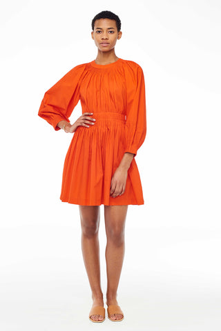 "Ulla Johnson Pre-Fall 2018 Joelle Dress in Paprika. Hand pleated cotton poplin knee length dress. Tapered bracelet sleeve, hand stitched detailing at waist, contrast seams, back zipper, unlined. Size 4 measures 35"" from shoulder to hem. Color red. Handmade in India. 100% Cotton. Sizes 2 4 6 8."