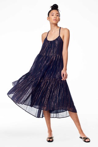 Ulla Johnson Spring 2018 Samara Dress in Midnight. Copper lurex cotton gauze midi dress. Striped lurex, rope tassels with hand-beaded sequins, tiered skirt, lined. Metallic stripes. Trapeze silhouette. Ties with beaded tassels. Striped print. Scoop neck. Sleeveless. Tie at back. Open back. Size 4 measures 37.5 inches from shoulder to hem. Color black. 95% Cotton, 5% Lurex. Sizes 0 2 4 6 8.