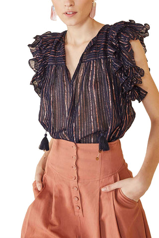 Ulla Johnson Spring 2018 Cora Top in Midnight. Striped Copper Lurex top with ruffle sleeve and tie at neck. Tonal metallic stripes. Tasseled ties at split neckline. Striped print. V-neck. Sleeveless. Tie at neckline. Color black. 95% cotton 5% lurex. Sizes 0 2 4 6 8.