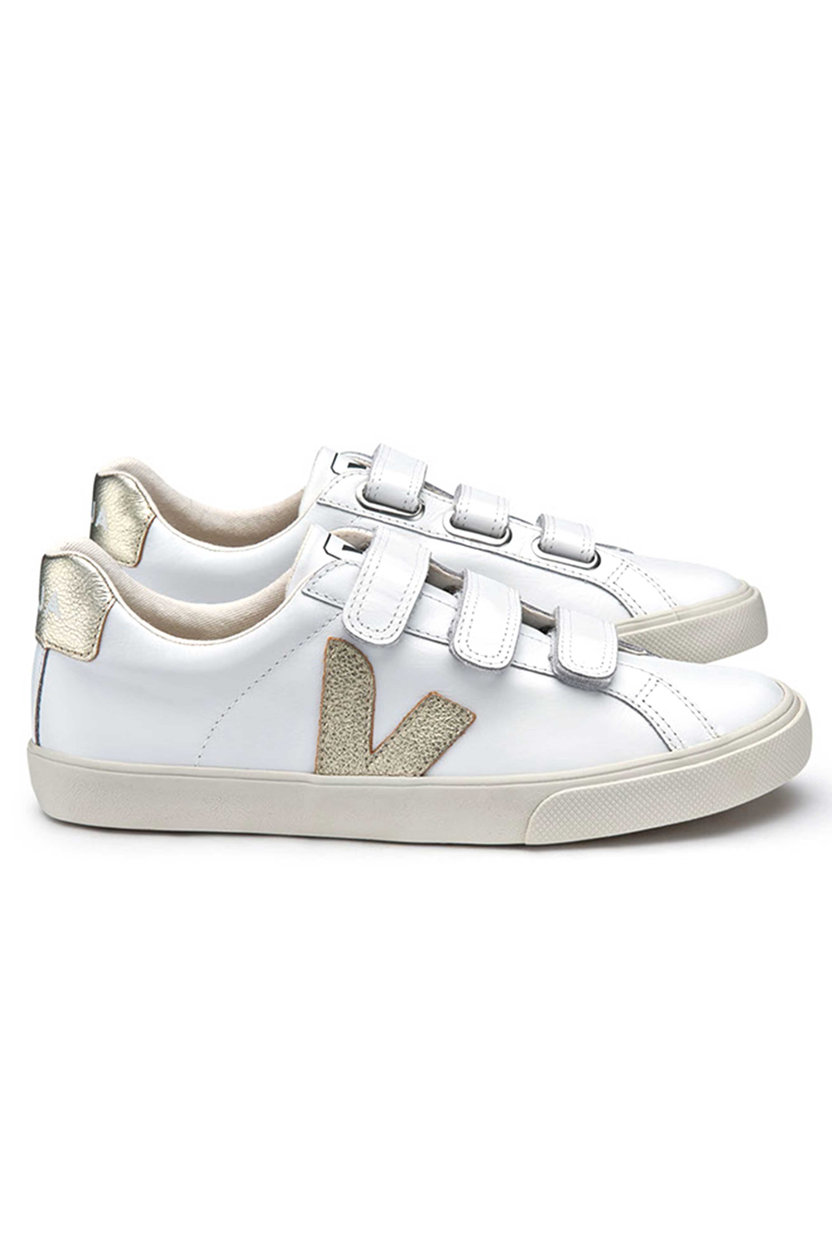 d8190d74eb29e4 Launched; Extra White & Gold Velcro 3-Lock Leather Sneaker by Veja Spring  2018.
