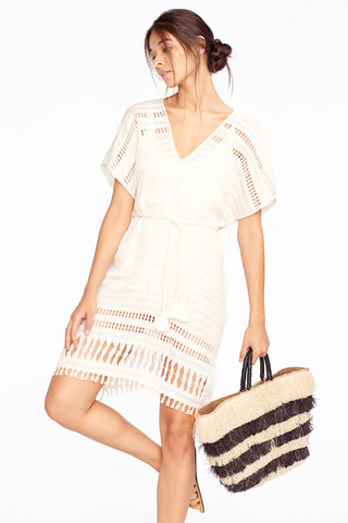 Natural Stripe Belted Caftan Dress