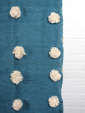 Petrol Blue Wool Super Pom Pom Blanket