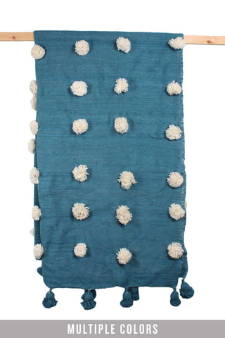 Wool Super Pom Pom Blanket