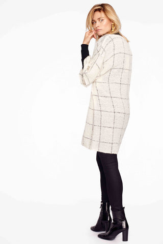 Katari Ivory Check Woven Alpaca Tunic Dress