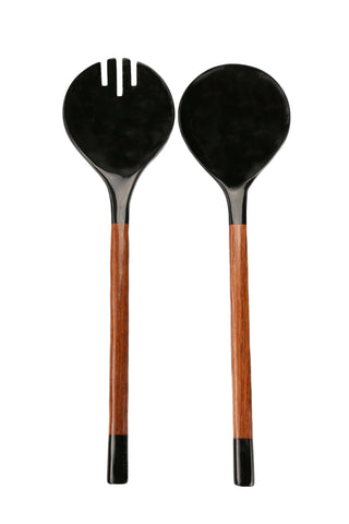 "The Black Horn with Red Wood Serving Set by Be Home is an essential addition to any modern kitchen. Made with water buffalo horn and redwood, this serving set is eco-friendly and stylish.  These horn products are hand-crafted.  Size: 12.5""L x 3.5""W"