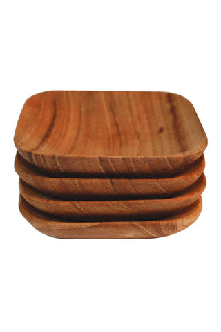 "Teak Square Spice Bowls by Be Home make perfect additions to any kitchen. Teak is an extremely durable and beautiful wood. Be Home teak products are made from the excess material that the logging industry leaves behind. Thus, no new trees are cut down to create our products. Comes in a set of 4. Handwash Size: 3"" x 3"" x .5"" Set of 4"