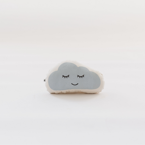 "Cloud Pillow from Oeuf. Cumulonimbus clouds don't usually take naps, but after a hard day of shielding us from direct sunshine, you better believe they've earned it. Sewn and screen printed by hand on natural canvas by local artisans. Natural canvas. Measurements 10.5"" x 6"""