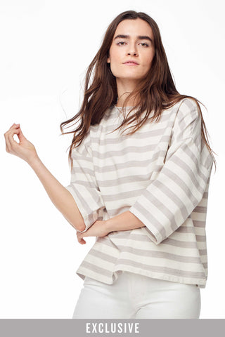 Huipile Grey Stripe Top