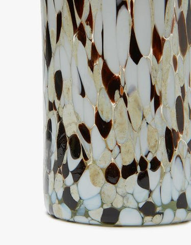 "Marbled Confetti vase from Hawkins New York. Tall cylindrical design. Marbled motif with colored specks. Nice heft. Mouth-blown glass. Suitable for outdoor use. Handmade. Each piece has its own unique pattern, and will vary slightly from item pictured. 1.7 L Available in Espresso and White. Measurements 10.5"" height 3.5"" diameter."