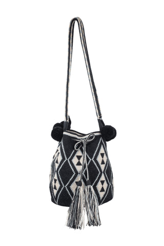 Luxe B&W Mochila Bag with Pom Poms
