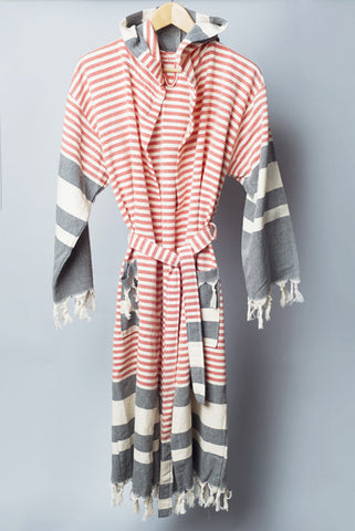 Striped Classic Hooded Robe